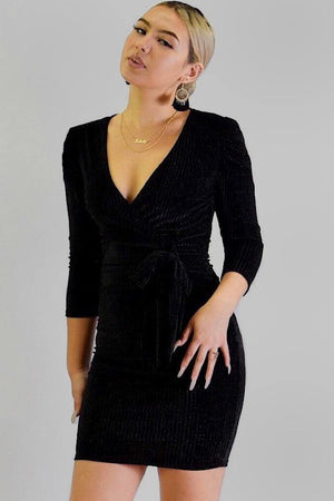 Puff sleeve sparkly wrap dress - Dimesi Boutique