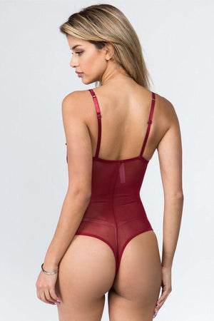Laura, Plum lace mesh bodysuit with strappy crossed - Dimesi Boutique