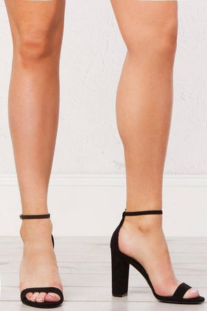Morris, Black lycra chunky heels with ankle strap