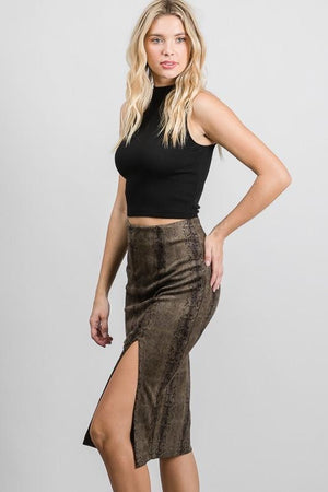 Melania, Snake suede slit pencil skirt