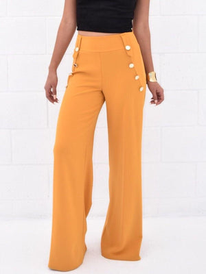 Alicia, High rise side buttoned Flared Pants