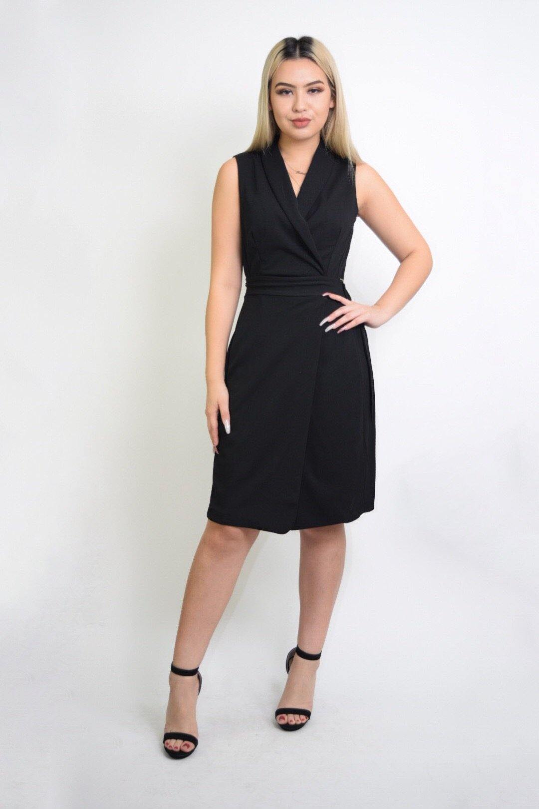 Alondra Black Wrap Dress With Belt