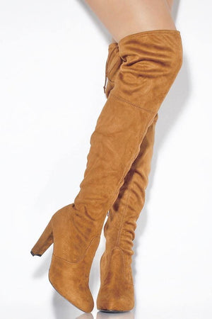 Amaya, Camel Thigh High Boots