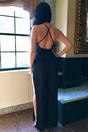 Open side deep V Neckline Giselle Dusty Blue Jumpsuit - Dimesi Boutique