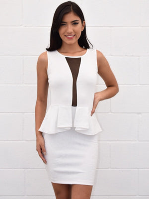 Open back mesh detail peplum dress - Dimesi Boutique