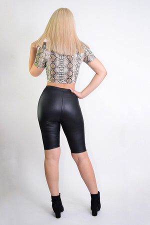 Amber, Black PU Biker Shorts