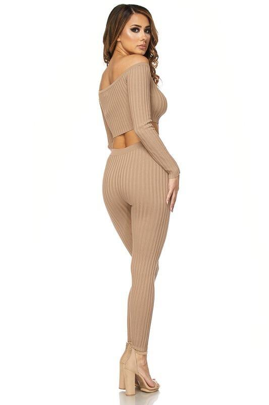 Maya Sexy Taupe 2 Piece Knitted Set