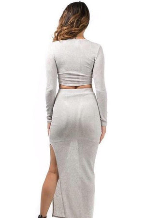 Kim, Grey knitted set with cross front top and slit on long skirt
