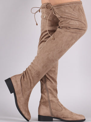 Thigh high flat taupe boots - Dimesi Boutique