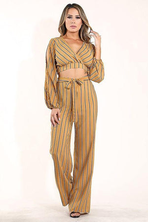 Paulina, Striped mustard Set