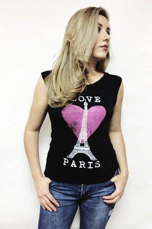 Ashley love Paris printed Blouse - Dimesi Boutique