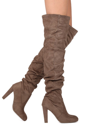 Amaya, thigh high suede taupe boots - Dimesi Boutique