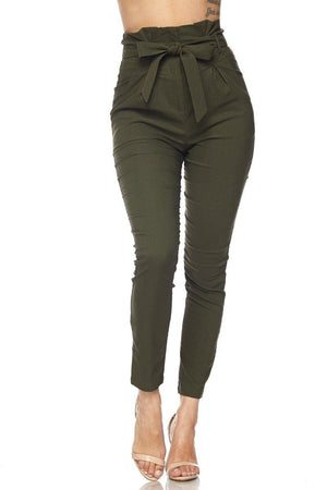 Penny, High Rise Olive Pants