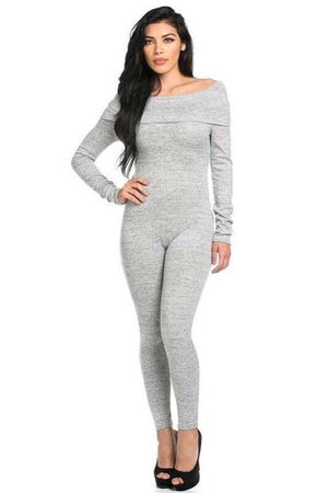 Off shoulder grey jumpsuit - Dimesi Boutique
