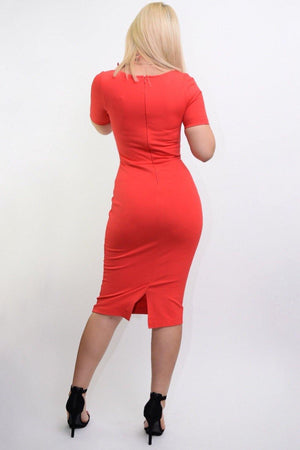 Jarrel orange bodycon midi dress - Dimesi Boutique