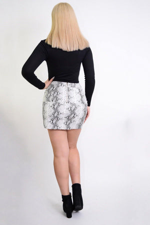 Barbara Snake Print PU Mini Skirt - Dimesi Boutique