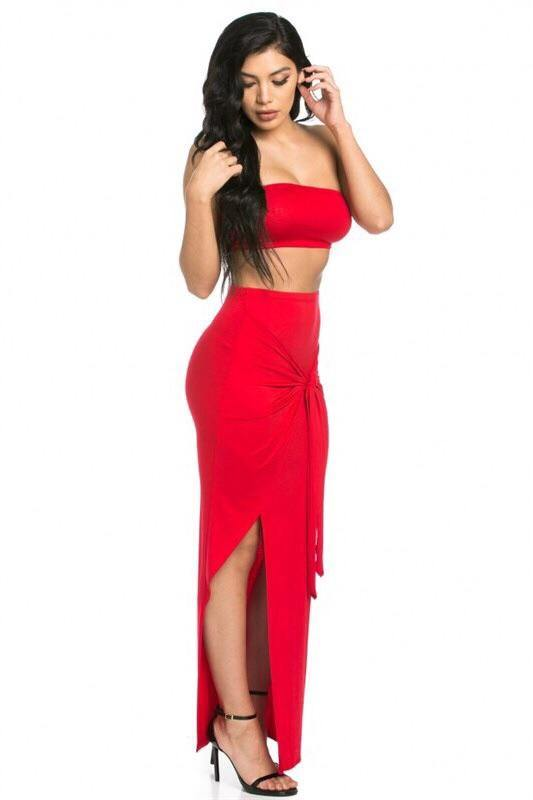 Abella 2 Piece, Solid Red Maxi Set
