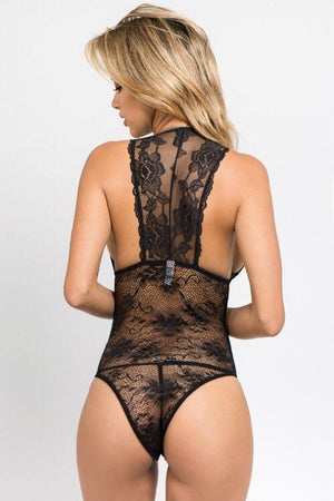 Katy, black all over lace bodysuit with plunge neckline - Dimesi Boutique
