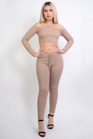 Maya Sexy Taupe 2 Piece Knitted Set - Dimesi Boutique