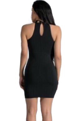 Abbey Cocktail high neckline Black Dress