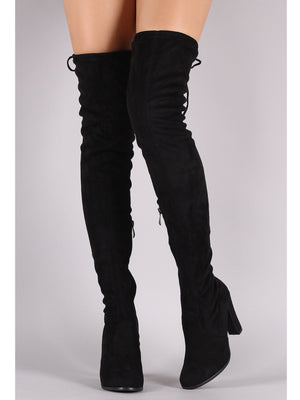 Mona thigh high black boots with a chunky heel - Dimesi Boutique