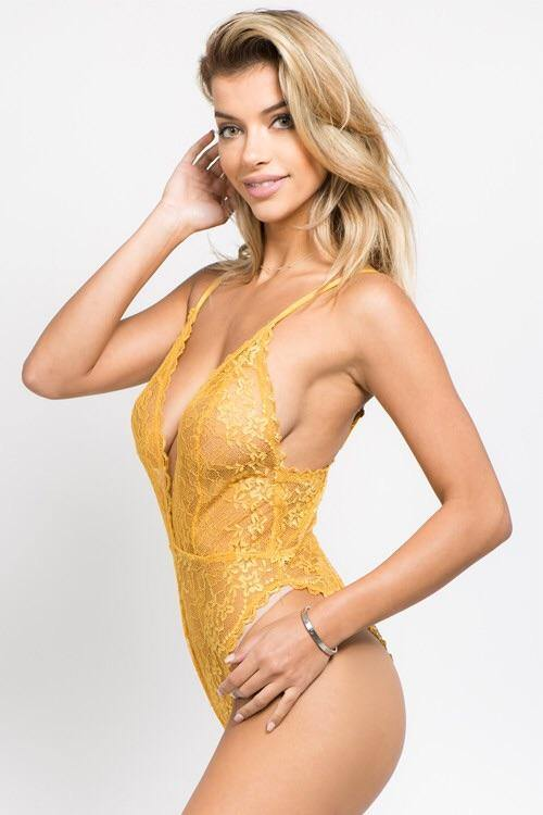 Veronica Mustard Lace Bodysuit with Adjustable Bra Strap