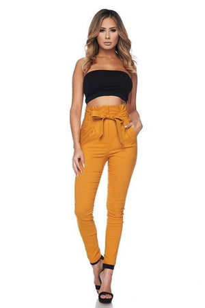 High waisted pleated & belted fitted pants - Dimesi Boutique