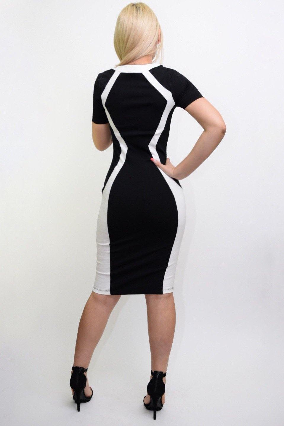 Rochi black-white dressy Middy dress