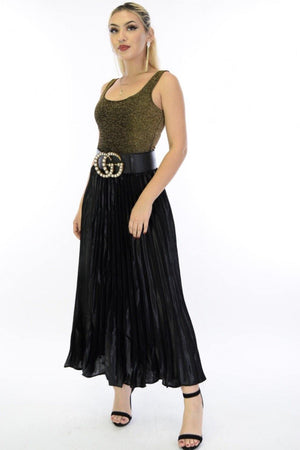 Sisi, Wide band pleated black maxi skirt - Dimesi Boutique