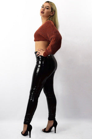 Susan, Black high rise latex leggings - Dimesi Boutique