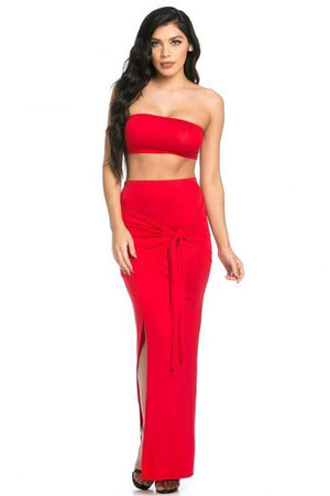Strapless solid red set - Dimesi Boutique