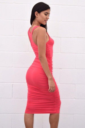 Pink ruched midi dress - Dimesi Boutique