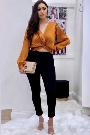 Saylor, Caramel Cropped top with twist front