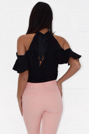 Black cold shoulder top - Dimesi Boutique