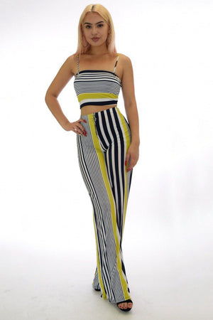 Crop top and pants striped two piece set - Dimesi Boutique