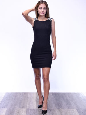 Sleeveless dress with jeweled shoulder - Dimesi Boutique