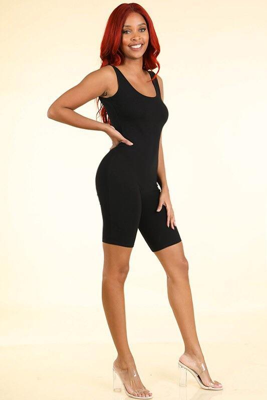 Lilian Sleeve Less Black Biker Romper