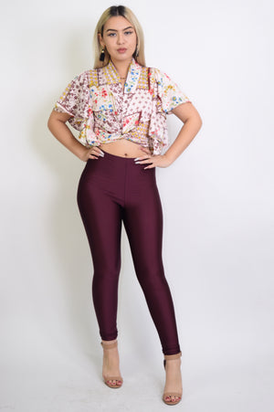 High waist shiny leggings - Dimesi Boutique