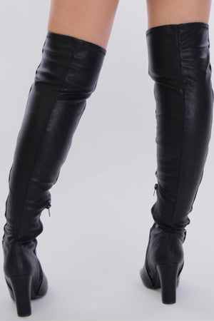 Amaya, Black Leather Thigh High Boots