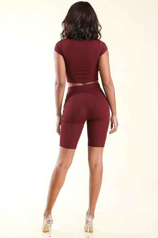Jennifer Two Piece Burgundy Set