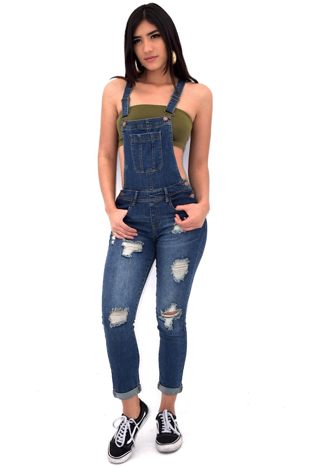 Any distressed denim overalls