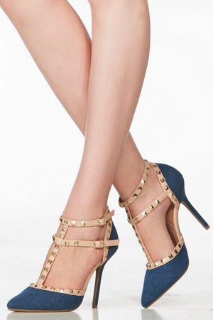 Ankle straps pointy toe denim heels - Dimesi Boutique