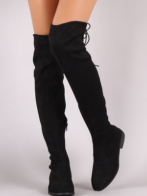 Thigh high flat suede boots - Dimesi Boutique