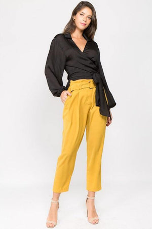Denise, Wrapped Waist Black Blouse