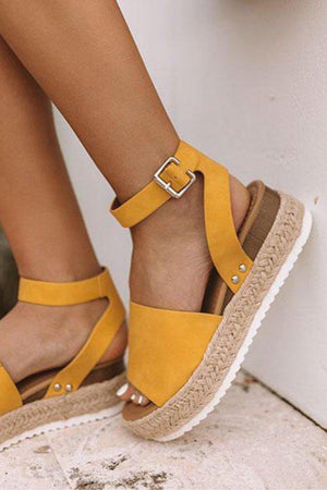 Sensational wide band espadrille platform Mustard Sandals