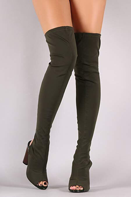 Connie Olive Knee high Boots