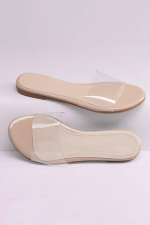 Rosabel, Wide band clear flat sandals - Dimesi Boutique