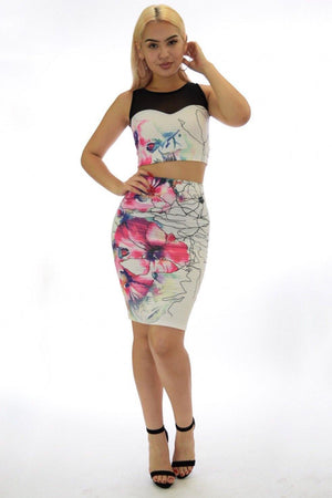 Samantha, two piece black Floral Set - Dimesi Boutique