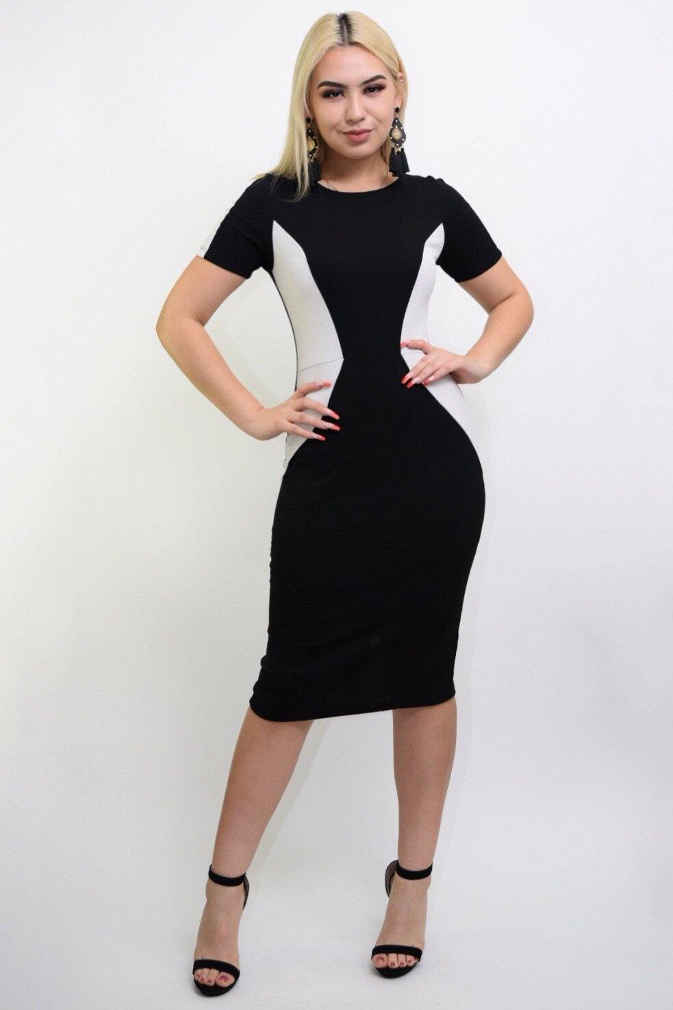 Sasha black-white bodycon middy dress