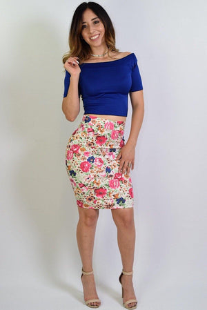 Brigit, Floral print pencil skirt - Dimesi Boutique